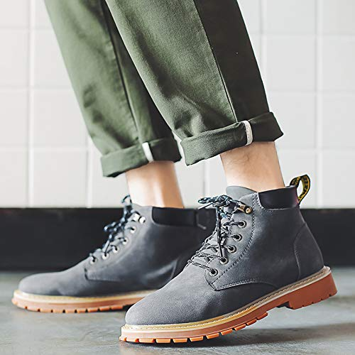 Shukun Herren Stiefel Men's Stiefel Autumn and Winter Winter Winter Men's High Tube Casual High to Help Martin Stiefel Wild to Help Young People In The Middle 558d7a