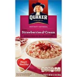 Quaker Instant Oatmeal, Strawberry & Cream, Breakfast Cereal, 1.23 Ounce, 10 Packets Per Box (Pack of 4)