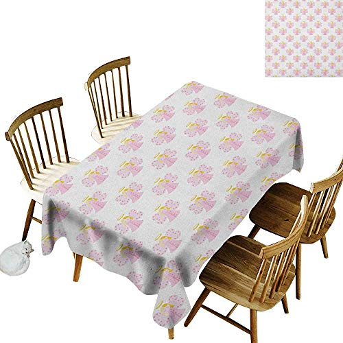 - kangkaishi Iron-Free Anti-fouling Holiday Long Tablecloth Table decorationCute Angels Spiritual Wing Girl with Halo Fairy Tale Surreal Kids Cartoon W14 x L108 Inch Baby Pink Earth Yellow