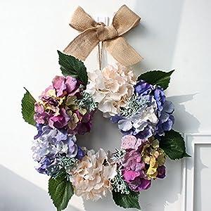 Beautiful Spring Floral Hydrangea Door Wreath Artificial Silk Flowers Garland Wedding Wreath Home Wall Front Door Wreath 15 Inch Diameter 94