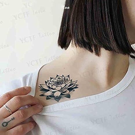 Oottati 2 Hojas Flor Loto Tatuajes Temporales TF110: Amazon.es ...