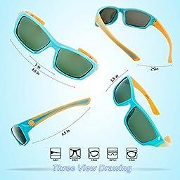 RIVBOS RBK025 Rubber Flexible Kids Polarized Sunglasses Glasses Age 3-10 (Blue)