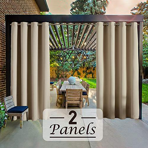 Beige-52by108 2Pieces Outdoor Patio Curtains Waterproof with Grommets Outdoor Privacy Porch Curtains Outdoor Curtain for Patio RHF Outdoor Blackout Curtains Patio Curtains Outdoor Patio Curtains
