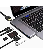 """USB C Multi-Function Adapter Compatible 2016/2017/2018 MacBook Pro 13/15""""- Thunderbolt 3 (40Gbps), 4k HDMI, Pass-Through Charging, SD/Micro Card Reader, 2 X USB 3.0 Ports (Space Grey)"""