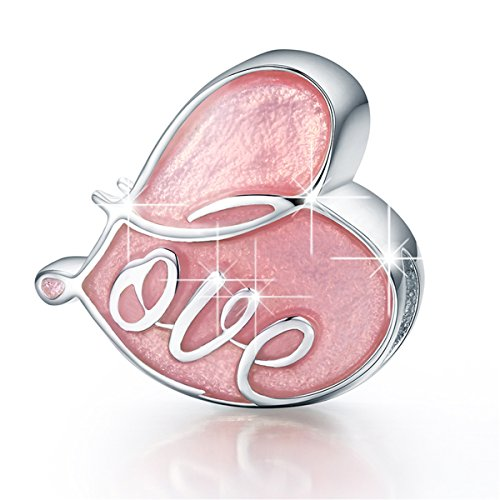 BAMOER 925 Sterling Silver Heart Charm Beads Pink Eternity Love Heart Shape Charm Fit Bracelet Necklace Pink Heart Bead