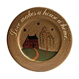 CVHOMEDECO. Primitive Country House Willow Tree Footpath Wood Decorative Plate Round Crackled Display Wooden Plate Home Décor Art, 9-1/2'' Dia. X 3/4''