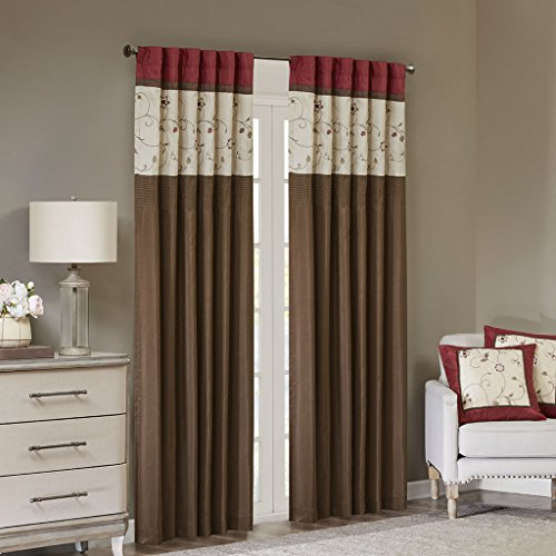 "Madison Park Serene Blackout Embroidered Room-Darkening Window Treatment Curtains 1 Panel with Rod Pocket/Back Tab Drapes for Bedroom and Dorm, 50x84"", Red"