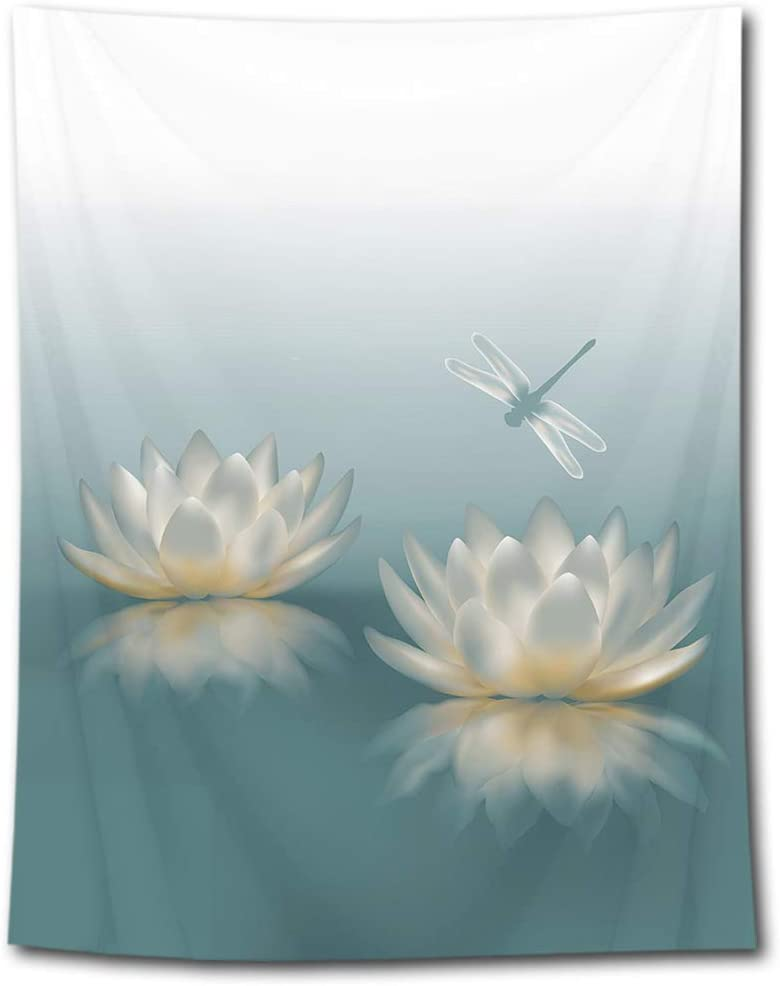 HVEST Lotus Pond Tapestry Dragonfly on Waterlily Flowers Wall Hanging Zen Spa Tapestries for Bedroom Living Room Dorm Party Decor,70.9Wx92.5H inches
