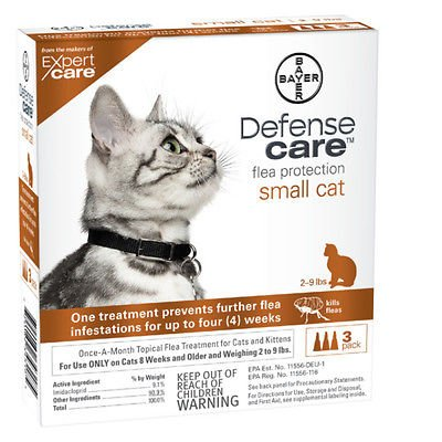 Bayer Defense Care Flea Protection for Small Cats & Kittens 2-9 lbs, 3-pack