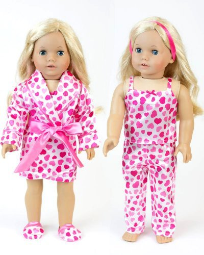 with Hearts by Sophia's Perfect for Valentine Celebrations, Pajama 4 Pc. Set, Fits 18 Inch Dolls, My Doll's Life ()
