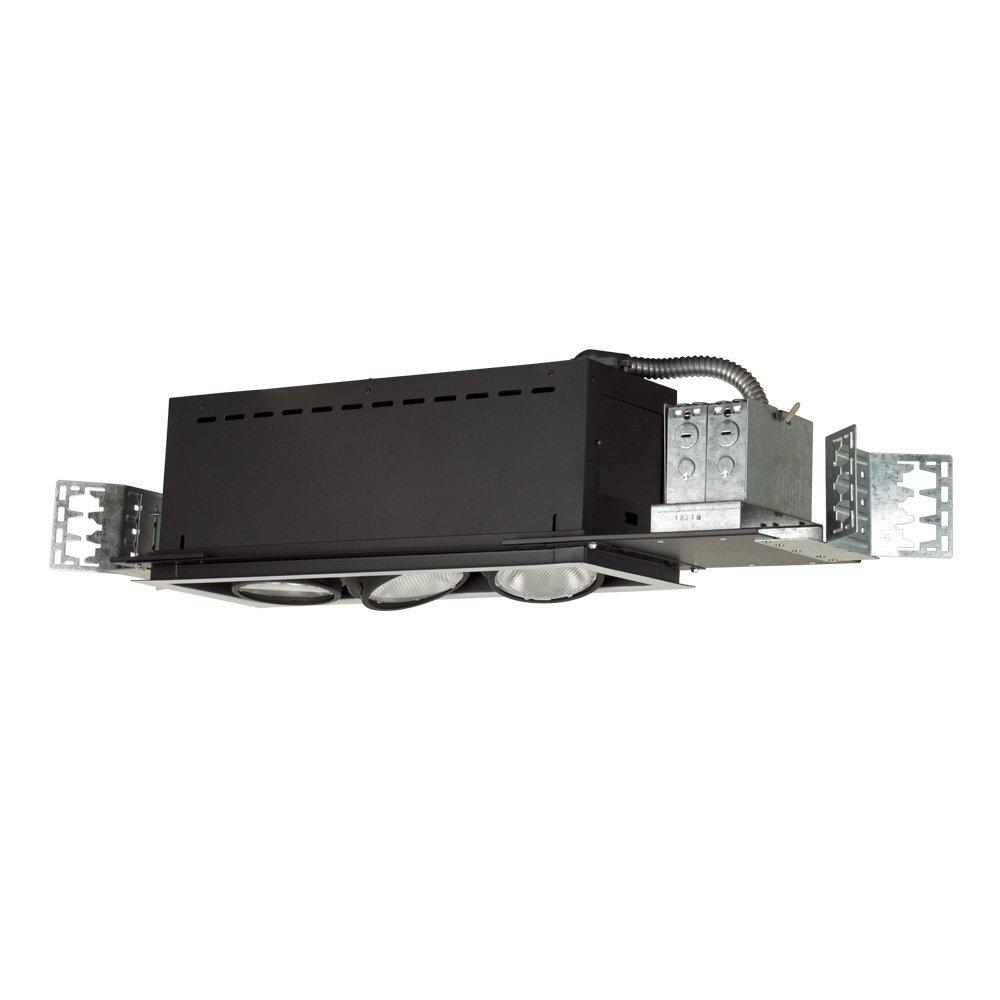 Jesco Lighting MYP30-3WB Modulinear Directional Lighting, Adjustable Yoke PAR30 3-Light Linear, Black Interior With White Trim