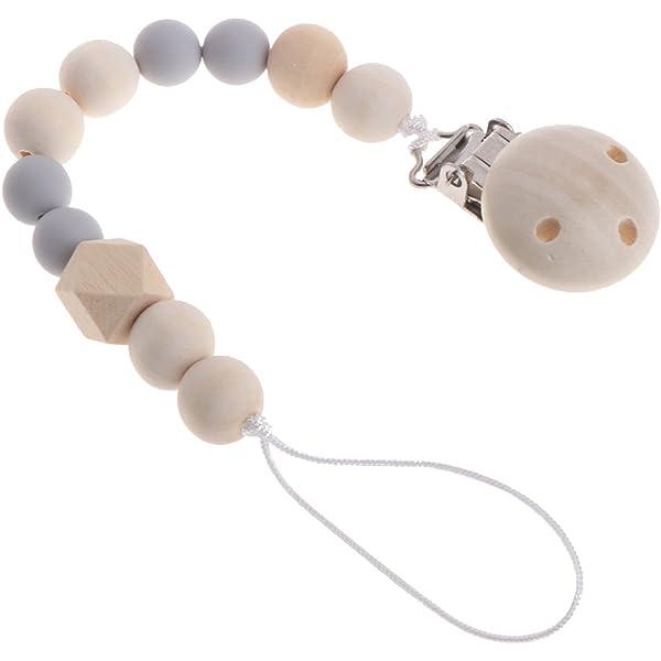 MIsha cadena chupetes Clip de madera chupete perlas de ...