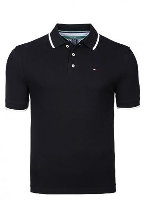 Tommy Hilfiger Polohemd Piqué Herren Schwarz 100% Baumwolle Größe S