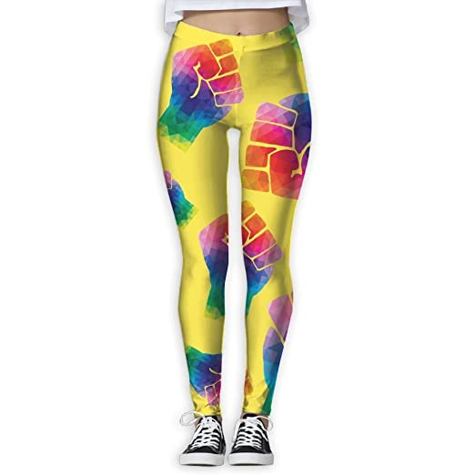 Womens Yoga Pants Rainbow Flag Fist Geometric Girls Printed ...
