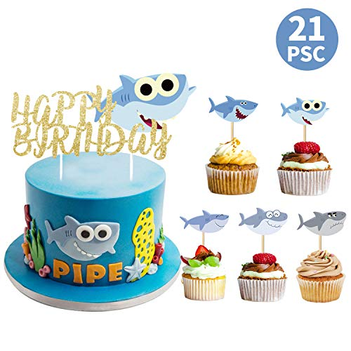 Shark Theme Happy Birthday Cake Toppers for Kids and Baby Cute Cupcake Party Supplies Banner Decoration Kits (Set of 21)]()