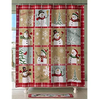 Amazon.com: Collections Etc Snow Time Country Snowman Shower Curtain ...