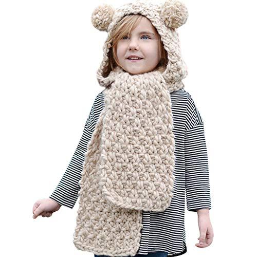 Hood Scarf Beanies Kids - Girls Winter Hats Ear Flaps Knit Cap Snow Neck Warmer by Liny (Image #1)