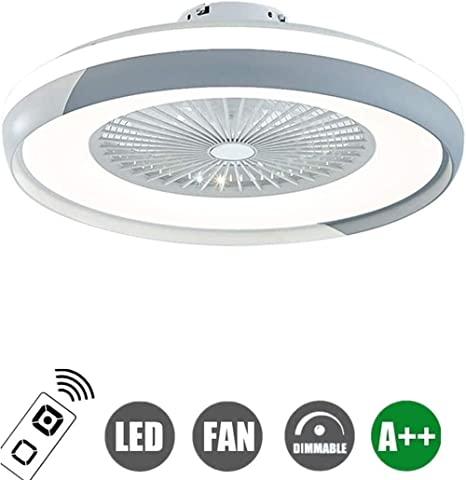 Ceiling Fan with Lighting Led Fan Ceiling Lamp Dimmable with Remote Control Ultra Quiet Invisible Fan Chandelier Acrylic Ceiling Light Modern Kids Room Living Room Bedroom Lamp