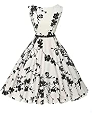 GRACE KARIN 1950s Vintage A-Line Cotton Hepburn Swing Fancy Party Dress with Belt XS~Plus Size 4X