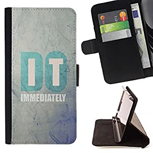 DEVIL CASE - FOR Apple Iphone 4 / 4S - Do It Blue Grey Wallpaper Motivational - Style PU Leather Case Wallet Flip Stand Flap Closure Cover
