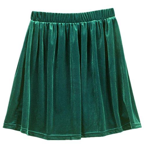 Veroda Retro High Waist Velvet Pleated Skirt Short Stretch Elastic Color Green Green Pleated Shorts