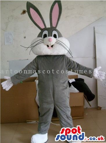 Bugs Bunny Grey Rabbit Character SPOTSOUND US Mascot Costume With A White Belly