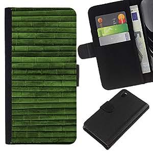 KingStore / Leather Etui en cuir / Sony Xperia Z3 D6603 / Modelo verde Naturaleza Bambú