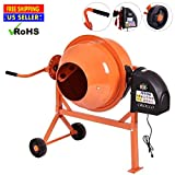 Cirocco Portable Electric Concrete Cement Mixer with Wheels – Large 2.2 Cubic Ft Durable Solid Steel – Switch & Safety Lock Easy Control – Ideal for Farm Construction Mixing Stucco Mortar Seed Feed