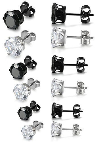 Amazon Lightning Deal 57% claimed: Jstyle Stainless Steel Womens Mens Cubic Zirconia Stud Earrings Pierced 6 Pairs