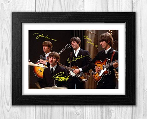 Engravia Digital The Beatles (5) Poster Signed Poster Signed Autograph Reproduction Photo A4 Print Black Frame