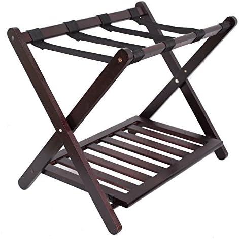 BirdRock HomePortaequipajes con estante para zapatos dise ntilde;o compacto y plegable dormitorio habitación maleta organización del hogar estable duradero portaequipajes portaequipajes plegable color nogal de bambú