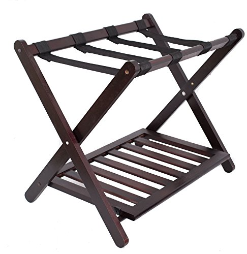 Walnut Luggage Rack (BirdRock Home Luggage Rack Stand with Shoe Shelf | Compact Folding Design | Bedroom Guest Room Suitcase Home Organization | Stable Durable Suitcases Racks Foldable Baggage Holder | Bamboo Walnut Color)