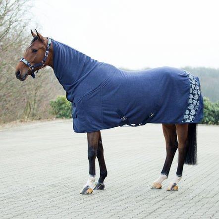 Horze Crescendo Easton Paisley Fleece Blanket, Peacoat Dark Blue - - Horse Winter Quarter