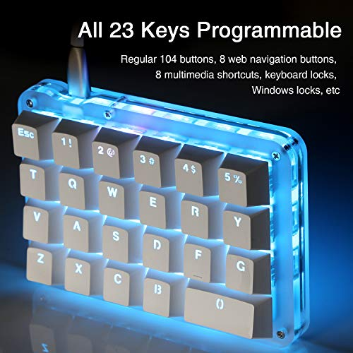 4823f1bcfc6 Amazon.com: Koolertron One Handed Macro Mechanical Keyboard, Portable Mini  One-Handed Mechanical Gaming Keypad 23 Fully Programmable Keys (Blue  Switches ...