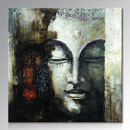 Seekland Art Hand Painted Large Buddha Face Canvas Wall Art Handmade Abstract Oil Painting Modern Decor Contemporary Artwork Framed Ready to Hang by Seekland Art