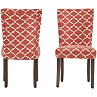 ModHaus Modern Red Fabric Moroccan Quatrefoil Pattern Parsons Style Dining Chairs | Wood Finish Wooden Legs - Set of 2 Includes ModHaus Living (TM) Pen