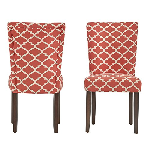 ModHaus Modern Red Fabric Moroccan Quatrefoil Pattern Parsons Style Dining Chairs | Wood Finish Wooden Legs – Set of 2 Includes ModHaus Living (TM) Pen