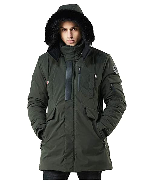 WEEN CHARM Men's Warm Parka Jacket Anorak Jacket Winter Coat with Detachable Hood Faux Fur Trim