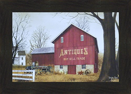 Antique Barn by Billy Jacobs 16x22 Country Red Barn Farm Americana Primitive Folk Art Print Wall Décor Framed Picture (2