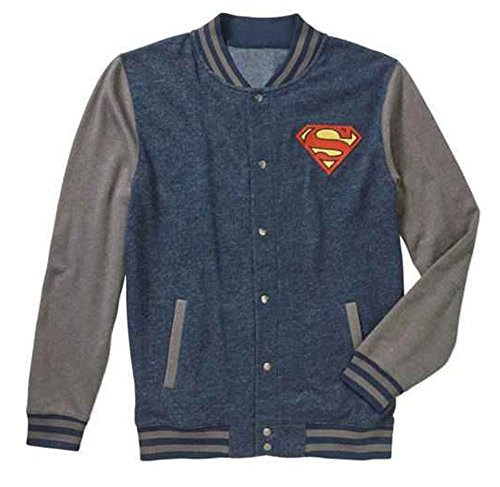 DC Comics Superman Man of Steel Logo Graphic Fleece Varsity Jacket (X-Large 46/48)