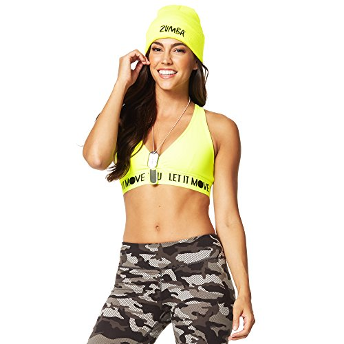 Zumba Women's V Neck Sports Bra with High Impact Support, Caution, XS