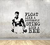 Sport Quotes Wall Decals Float Like A Butterfly Sting Like A Bee Muhammad Ali Vinyl Decor Stickers MK1684