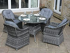luxury grey rattan 4 seat round dining set garden or. Black Bedroom Furniture Sets. Home Design Ideas