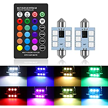 TOAUTO 4 Pack T10 RGB LED Bulb with Remote Control W5W Strobe 5050 Reading Wedge Lights,194 168 2825 Strobe Light 16 Colors,Replacement Car Interior//Map//Dome//Door//License Plate Light