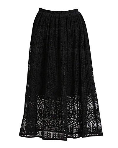 Noir lgant Line Pliss Longue Bohme Plage Jupe Rtro Maxi Vintage Dentelle Robe A Femme wq1ZaSx