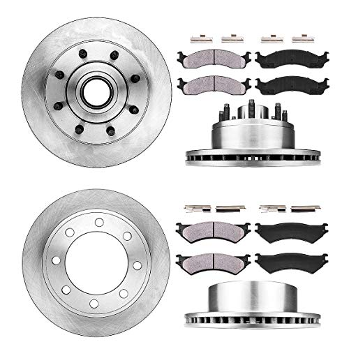 FRONT 331 mm + REAR 325.88 mm Premium OE 8 Lug [4] Rotors + [8] Quiet Low Dust Ceramic Brake Pads + Hardware - Econoline E-350 Van