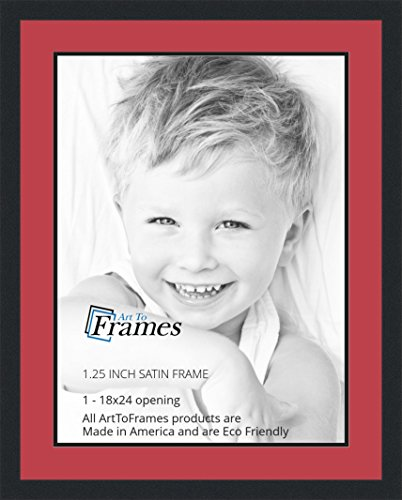 Art to Frames Double-Multimat-654-762/89-FRBW26079 Collage Photo Frame Double Mat with 1 - 18x24 Openings and Satin Black Frame