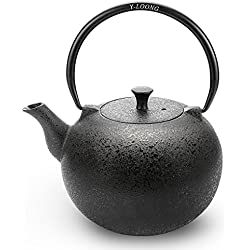 Y-LOONG Cast Iron Kettle Tetsubin Tea Pots with Stainless Steel Infuser, 30 oz (900 ml)