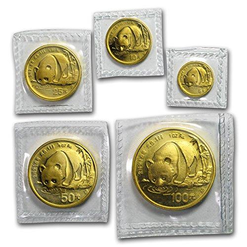 CN 1987 S China 5-Coin Gold Panda Set BU (Sealed) Brilliant Uncirculated