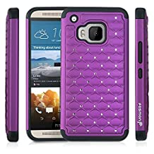 Fosmon® HTC One M9 Case (HYBO-SD) Star Diamond Hybrid Dual Layer Silicone Case Shell Cover (Sturdy Form-Fitted) for HTC One M9 / Hima - Fosmon Retail Packaging (Purple/Black)